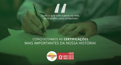 Unifibra conquista selos de qualidade (ISO)